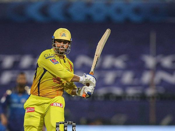 Photo of CSK captain Mahendra Singh Dhoni when he was batting for Chennai Super Kings.