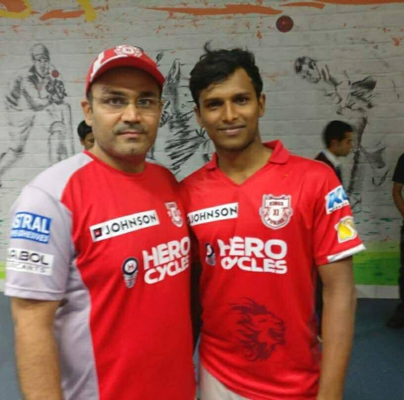 T Natarajan with Vrendra Shehwag