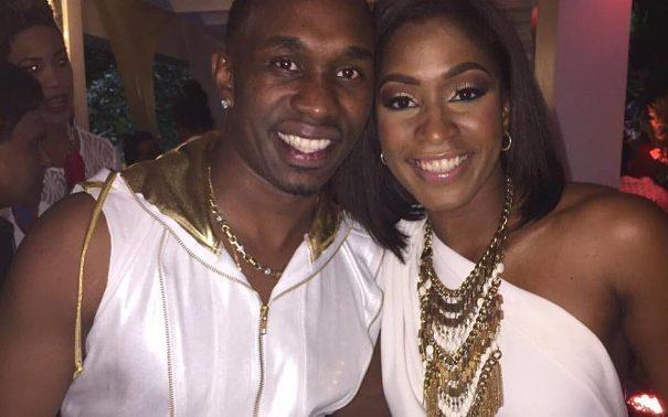 Dwayne Bravo with his wife Regina Ramjit.