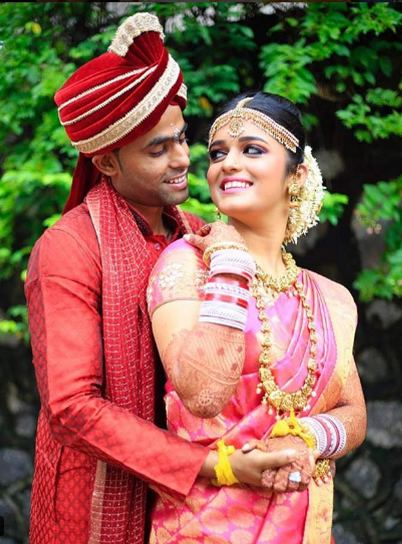 Suryakumar Yadav with his wife Devisha Shetty.