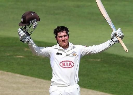 Rory Burns celebration after her century.