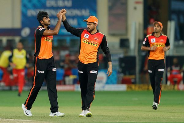 The Sunrisers Hyderabad celebrates the wicket of Devdutt Padikkal of Royal Challengers Bangalore