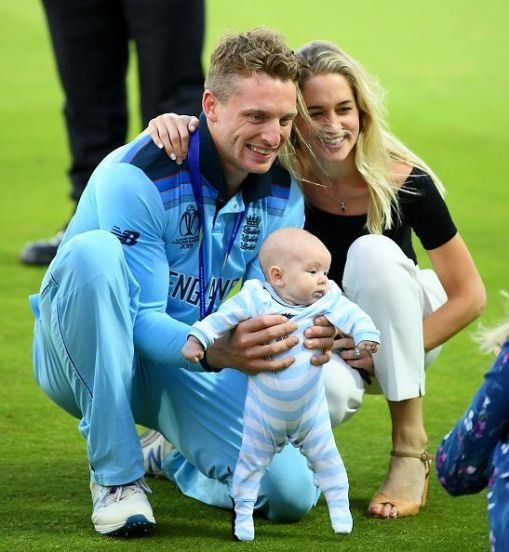 Jos Buttler with his Wife and child