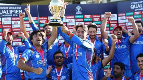 Afghanistan national cricket team celebrating after series win, See celebrating moments Picture.