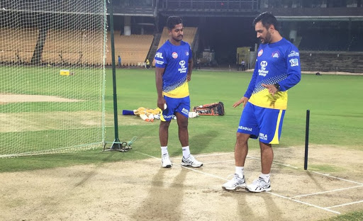 Picture of KM Asif with MS Dhoni during match practice for Chennai Super Kings (CSK) in IPL.