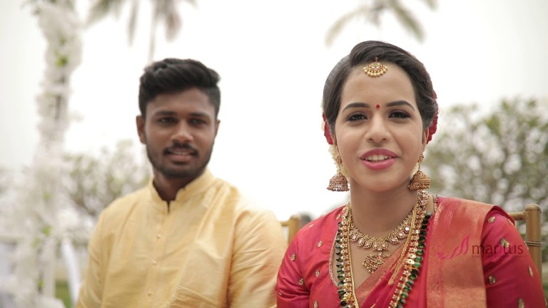 Sanju Samson with his wife Charulatha