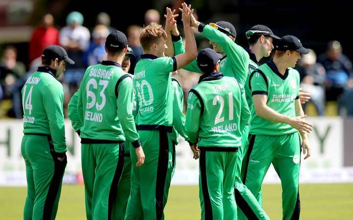 Ireland national cricket team celebrating after taking wicket, See celebrating moments Picture.