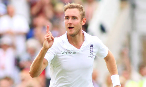 Stuart Broad celebrating after a take wicket.