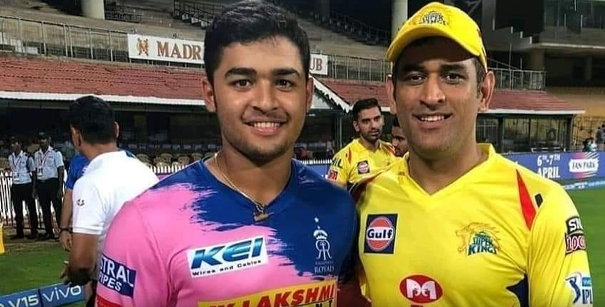Riyan Parag with MS Dhoni