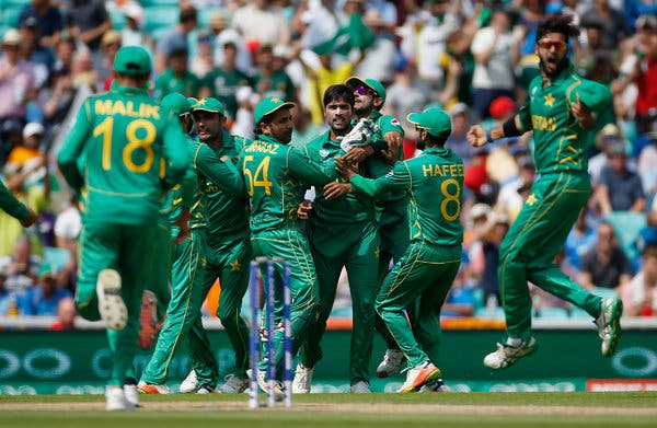 Pakistan national cricket team celebrate after taking wicket.