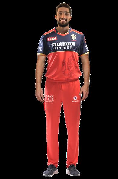 Mohammed Azharuddeen in Royal Challengers Bangalore jersey.