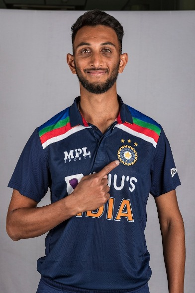 Photo of Prasidh Krishna from her ODI debut match against England,  In this match He became the first Indian to claim 4 wickets in ODI on debut.