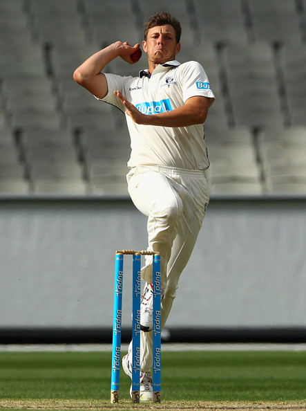 Beautiful image of James Pattinson before the ball was thrown in the match.