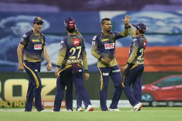 Kolkata Knight Riders team celebrates the wicket of Saurabh Tiwaryn of Mumbai Indians.