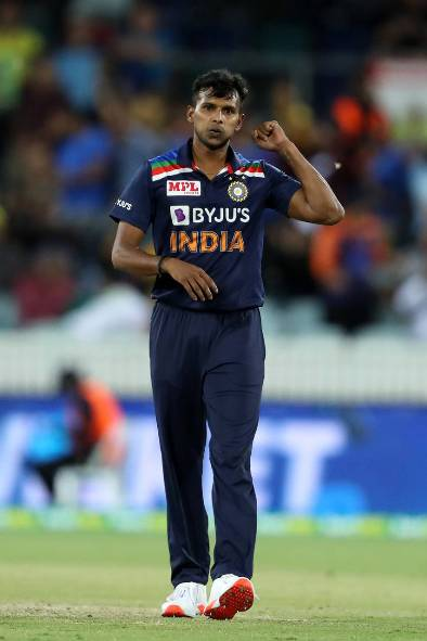 HD images of T Natarajan from the her ODI debut Match against England.