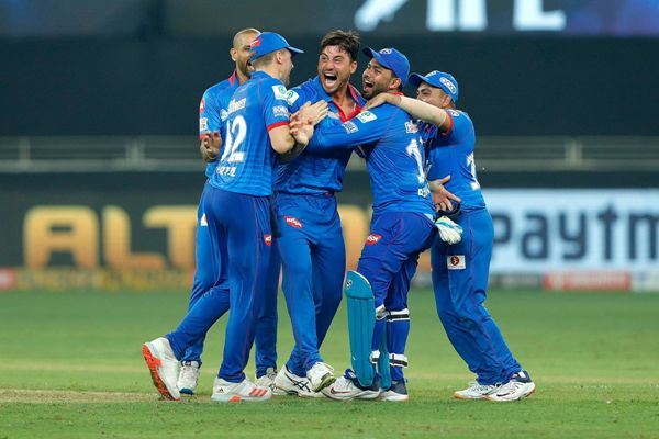 Delhi Capitals team celebrates the wicket of Chris Jordan of Kings XI Punjab.