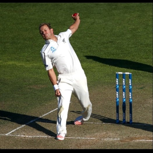 A beautiful picture of Neil Wagner bowling.