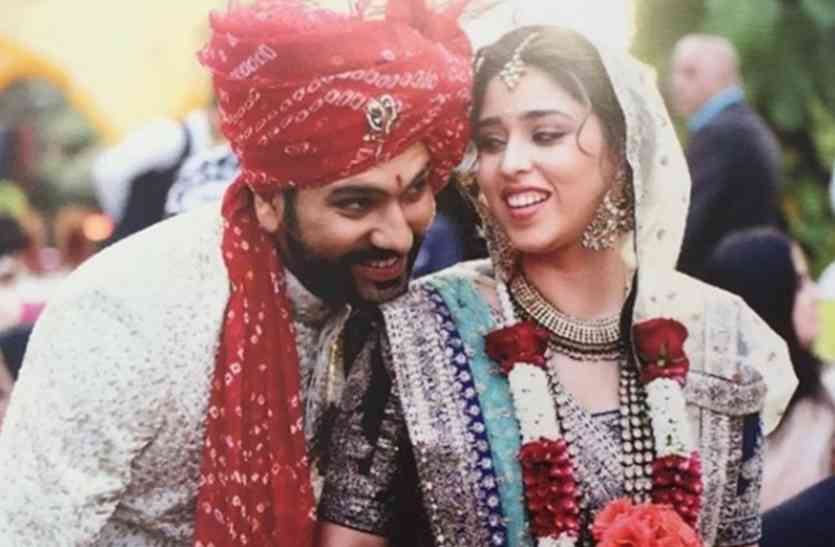 Beautiful picture of Indian batsman Rohit Sharma with his wife Ritika Sajdeh.