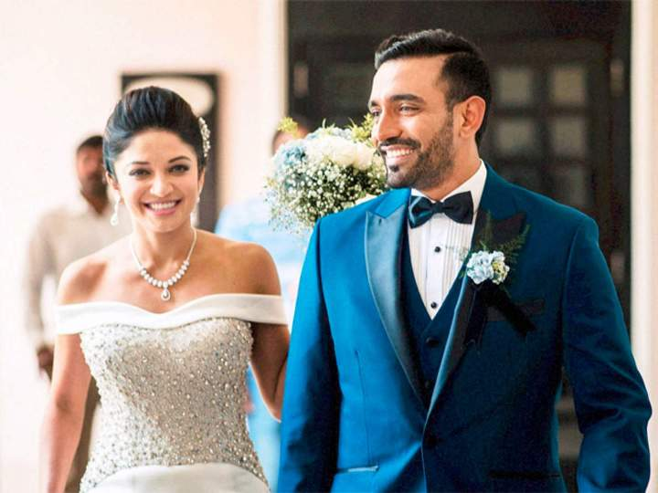 Robin Uthappa with his wife Sheethal Goutham