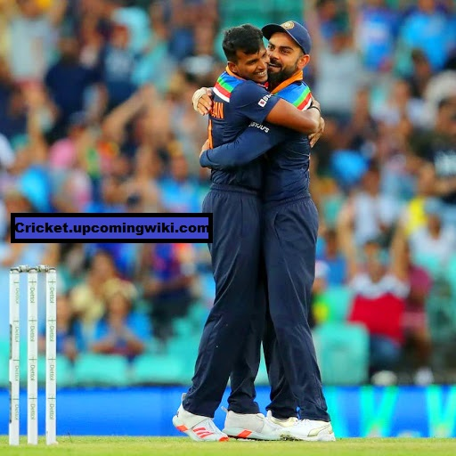HD Picture of T Natarajan with Virat Kohli from the her ODI debut Match against England.