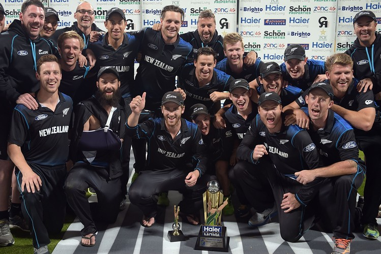 New Zealand national cricket team celebrating after series win, See celebrating moments Picture.