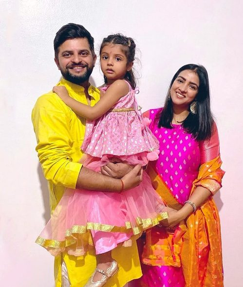 Suresh Raina with his wife and daughter.