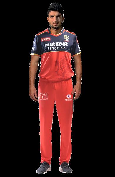 Suyash Prabhudesai in Royal Challengers Bangalore (RCB) jersey.