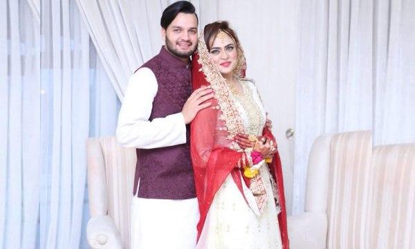 Usman Qadir with wife Sobia Khan.