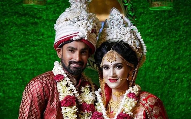 Liton Das with wife Devasri Biswas.