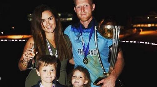 Ben Stokes with his Wife Clare Ratcliffe and two children