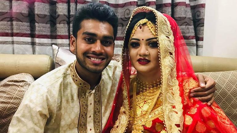 Mehidy Hasan with wife Rabeya Akhter Priti.