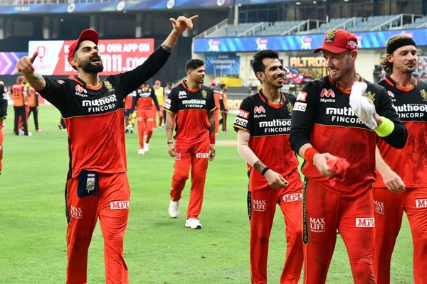 Virat Kohli, Yuzvendra Chahal and Ab De Villers celebrate the win against Sun Risers Hyderabad